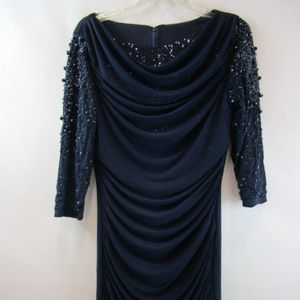 Badgley Mischka for Cache Navy Dress with Sparkles